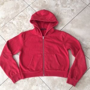 Brandy Melville wash off red cropped hoodie